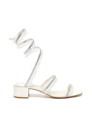 Main View - Click To Enlarge - RENÉ CAOVILLA - Cleo' chandelier strass coil anklet satin sandals