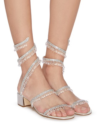 Figure View - Click To Enlarge - RENÉ CAOVILLA - Cleo' chandelier strass coil anklet satin sandals