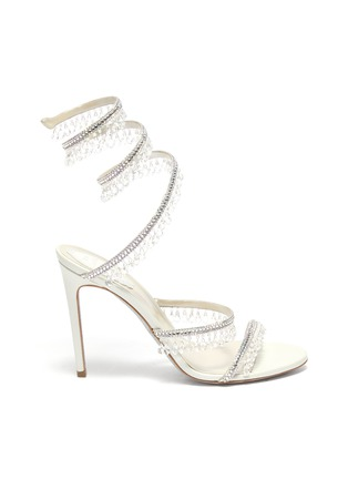 Main View - Click To Enlarge - RENÉ CAOVILLA - Cleo' chandelier strass coil anklet satin heel sandals