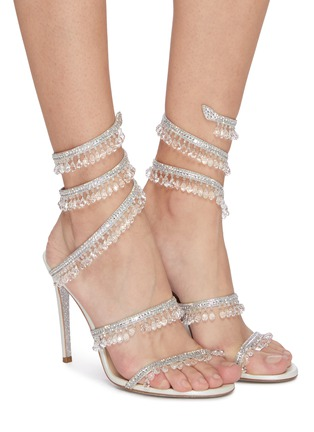 Figure View - Click To Enlarge - RENÉ CAOVILLA - Cleo' chandelier strass coil anklet satin heel sandals