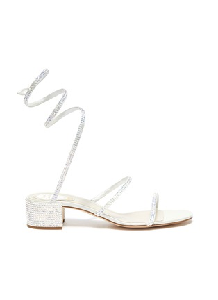 Main View - Click To Enlarge - RENÉ CAOVILLA - Cleo' strass coil anklet satin sandals