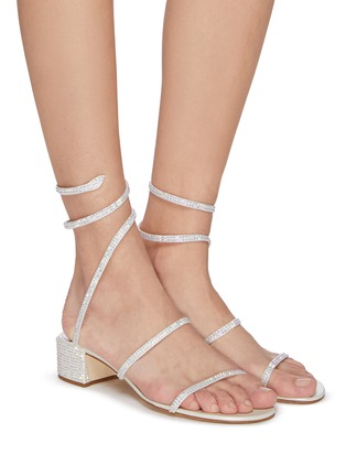 Figure View - Click To Enlarge - RENÉ CAOVILLA - Cleo' strass coil anklet satin sandals