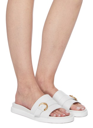 Figure View - Click To Enlarge - GIANVITO ROSSI - Buckled upper band leather slides