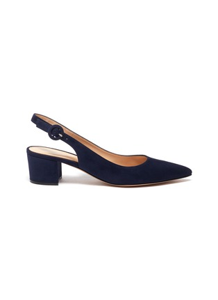 Main View - Click To Enlarge - GIANVITO ROSSI - Amee' Point Toe Block Heel Slingback Suede Pumps