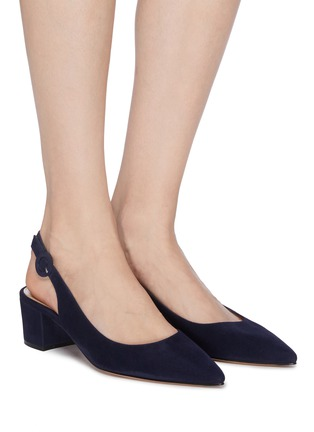 Figure View - Click To Enlarge - GIANVITO ROSSI - Amee' Point Toe Block Heel Slingback Suede Pumps