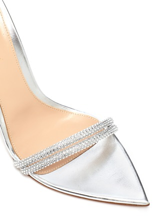 Detail View - Click To Enlarge - GIANVITO ROSSI - Strass Embellished Ankle Tie Heeled Leather Sandals