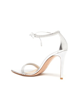 - GIANVITO ROSSI - Strass Embellished Ankle Tie Heeled Leather Sandals