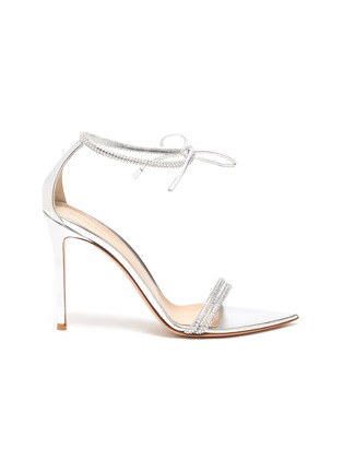 Main View - Click To Enlarge - GIANVITO ROSSI - Strass Embellished Ankle Tie Heeled Leather Sandals