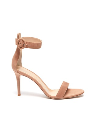 Main View - Click To Enlarge - GIANVITO ROSSI - Portofino 85' Ankle Strap Heeled Suede Sandals