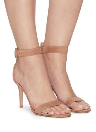Figure View - Click To Enlarge - GIANVITO ROSSI - Portofino 85' Ankle Strap Heeled Suede Sandals