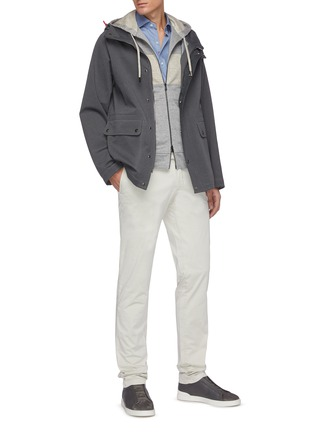 Figure View - Click To Enlarge - ISAIA - Drawcord Hood Flap Pocket Parka