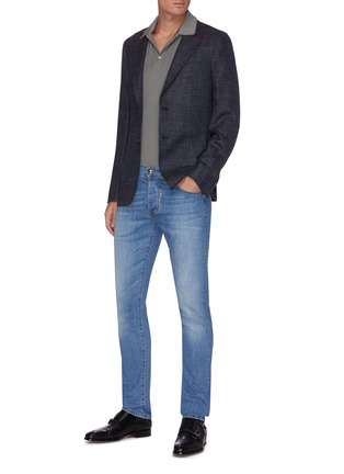 Figure View - Click To Enlarge - ISAIA - Notched lapel denim effect blazer