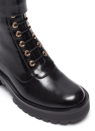 Detail View - Click To Enlarge - STELLA LUNA - Gold-tone buckle lug heel leather combat boots