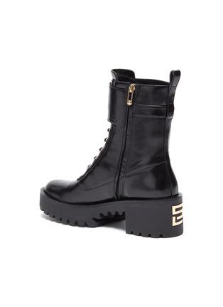 - STELLA LUNA - Gold-tone buckle lug heel leather combat boots