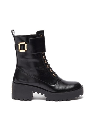 Main View - Click To Enlarge - STELLA LUNA - Gold-tone buckle lug heel leather combat boots