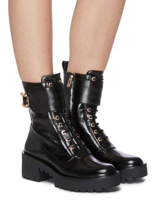 Figure View - Click To Enlarge - STELLA LUNA - Gold-tone buckle lug heel leather combat boots