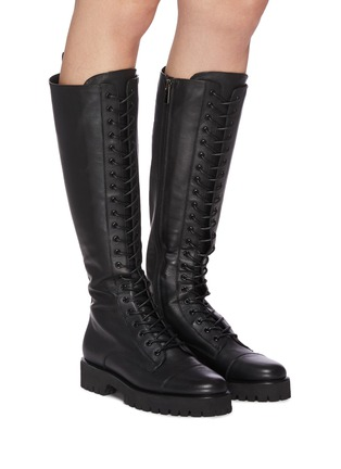 Figure View - Click To Enlarge - PEDDER RED - 'Dakota' Tall Leather Combat Boots