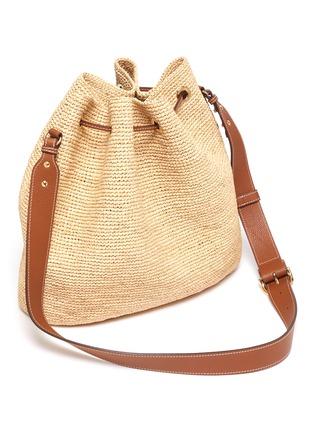 Detail View - Click To Enlarge - MARK CROSS - 'Joni' Leather Shoulder Strap Raffia Bucket Bag