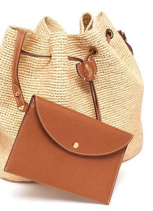 - MARK CROSS - 'Joni' Leather Shoulder Strap Raffia Bucket Bag