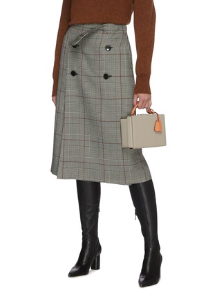 Front View - Click To Enlarge - MARK CROSS - 'Joni' Top Handle Leather Box Bag