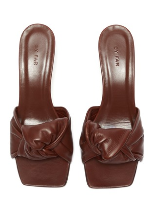 Detail View - Click To Enlarge - BY FAR - 'Lana' Square Toe Knot Band Leather Heel Sandals
