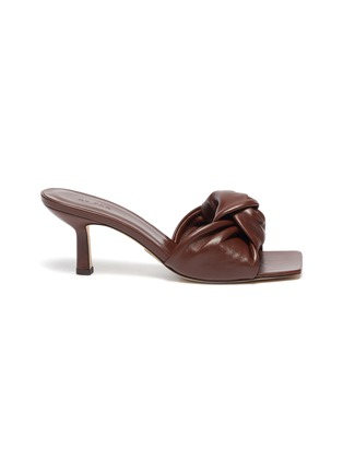Main View - Click To Enlarge - BY FAR - 'Lana' Square Toe Knot Band Leather Heel Sandals