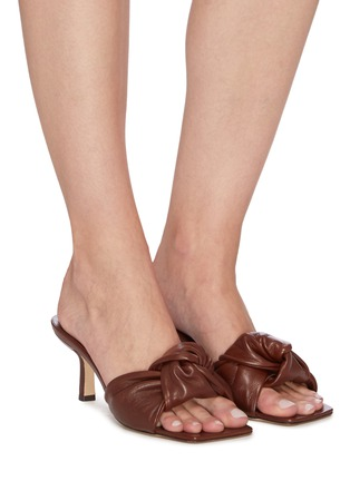 Figure View - Click To Enlarge - BY FAR - 'Lana' Square Toe Knot Band Leather Heel Sandals