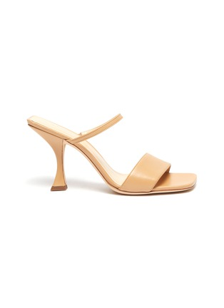 Main View - Click To Enlarge - BY FAR - 'Nayla' Square Toe Double Band Leather Heel Sandals