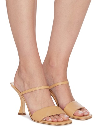 Figure View - Click To Enlarge - BY FAR - 'Nayla' Square Toe Double Band Leather Heel Sandals