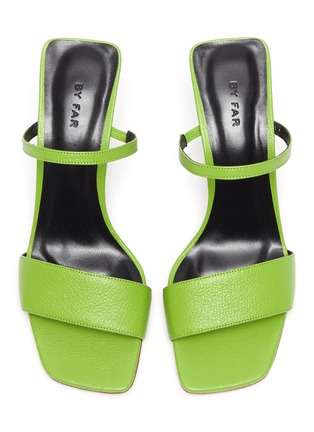 Detail View - Click To Enlarge - BY FAR - 'Nayla' Square Toe Double Band Leather Heel Sandals
