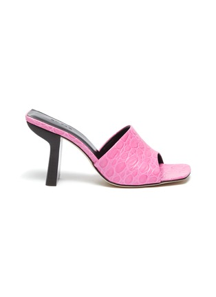 Main View - Click To Enlarge - BY FAR - 'Liliana' Sculpted Heel Square Toe Croc Embossed Leather Sandals