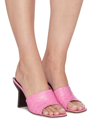 Figure View - Click To Enlarge - BY FAR - 'Liliana' Sculpted Heel Square Toe Croc Embossed Leather Sandals
