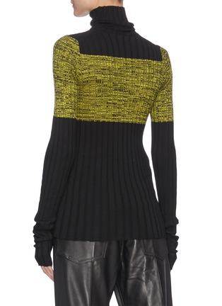 Back View - Click To Enlarge - PETAR PETROV - NIKA' Colourblock Silk Panel Turtleneck Merino Wool Rib Knit Sweater
