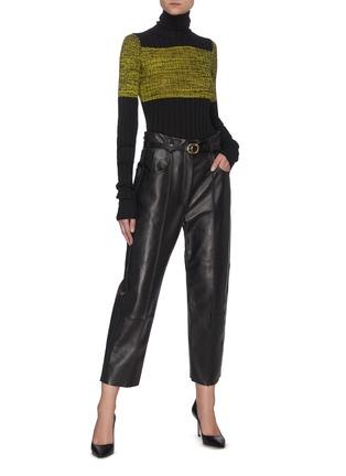 Figure View - Click To Enlarge - PETAR PETROV - NIKA' Colourblock Silk Panel Turtleneck Merino Wool Rib Knit Sweater