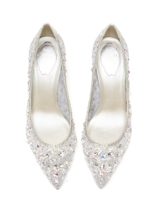 Detail View - Click To Enlarge - RENÉ CAOVILLA - Cinderella' Crystal Embellished Lace Pumps