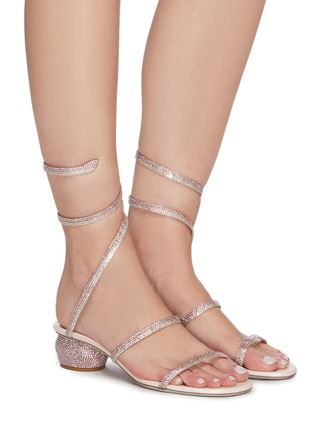 Figure View - Click To Enlarge - RENÉ CAOVILLA - 'Cleo' strass coil anklet ball heel sandals