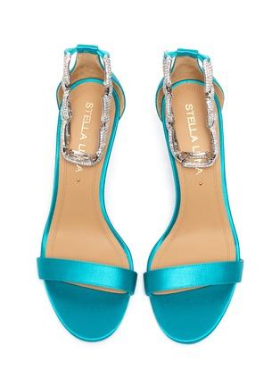 Detail View - Click To Enlarge - STELLA LUNA - 'Stella Chain' Embellished Anklet Satin Heeled Sandals