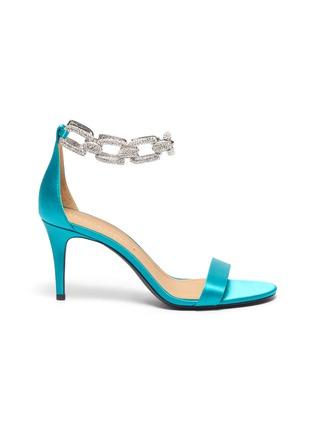 Main View - Click To Enlarge - STELLA LUNA - 'Stella Chain' Embellished Anklet Satin Heeled Sandals