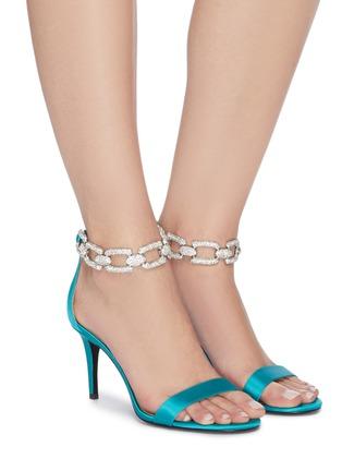 Figure View - Click To Enlarge - STELLA LUNA - 'Stella Chain' Embellished Anklet Satin Heeled Sandals