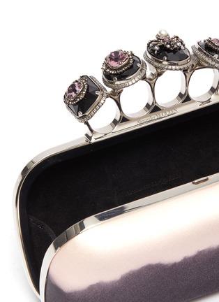 Detail View - Click To Enlarge - ALEXANDER MCQUEEN - Jewelled satin degradé knuckle clutch