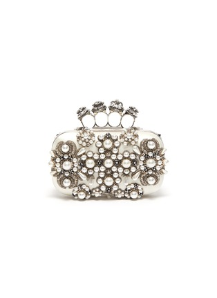 Main View - Click To Enlarge - ALEXANDER MCQUEEN - Jewel pearl embellished knuckle clutch