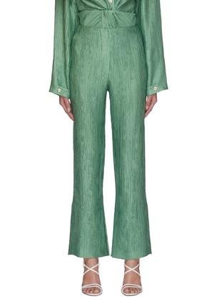 Main View - Click To Enlarge - NANUSHKA - 'Tabbie' metallic plissé pants