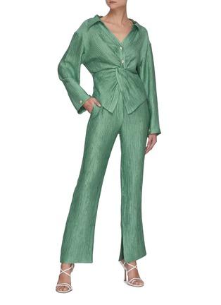 Figure View - Click To Enlarge - NANUSHKA - 'Tabbie' metallic plissé pants