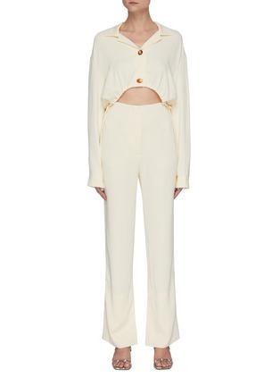 Main View - Click To Enlarge - NANUSHKA - 'Jude' waist cutout georgette jumpsuit