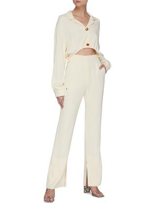 Figure View - Click To Enlarge - NANUSHKA - 'Jude' waist cutout georgette jumpsuit