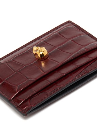 Detail View - Click To Enlarge - ALEXANDER MCQUEEN - Skull croc-embossed leather card holder