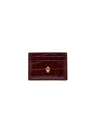 Main View - Click To Enlarge - ALEXANDER MCQUEEN - Skull croc-embossed leather card holder