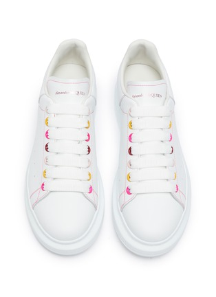 Detail View - Click To Enlarge - ALEXANDER MCQUEEN - 'Oversized Sneakers' in Leather with Contrast Seam