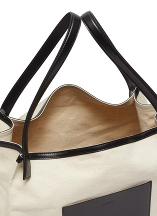 Detail View - Click To Enlarge - JIL SANDER - 'Origami' leather panel canvas tote