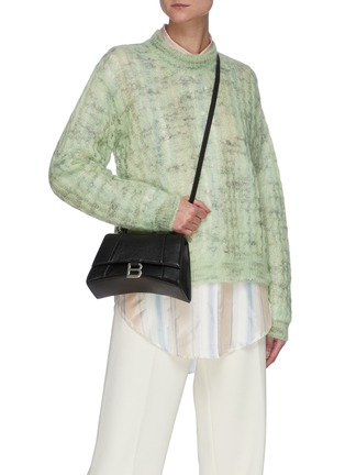 Front View - Click To Enlarge - BALENCIAGA - 'Hourglass Small' leather shoulder bag